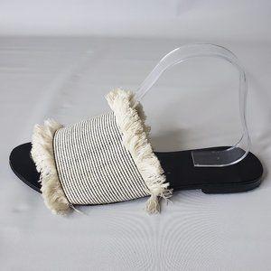 Country Road Fringe Fabric & Leather Slides Sz 39